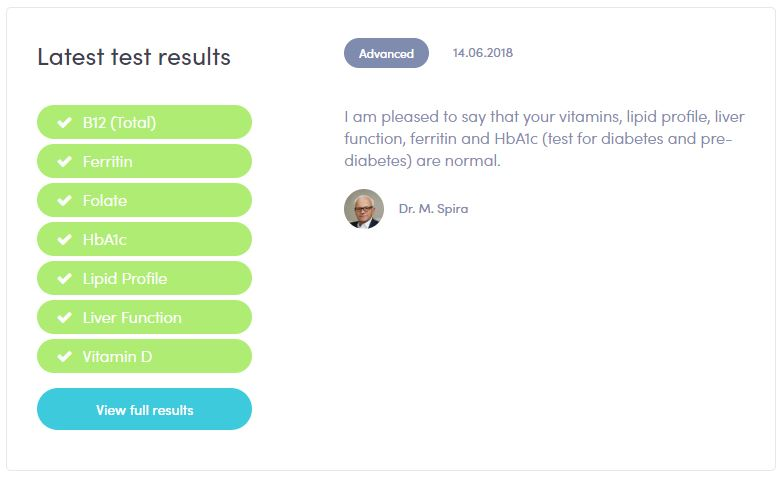 My overall result from Thriva, shows as normal!